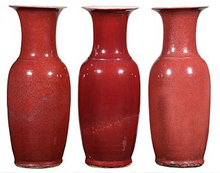 Three Chinese Sang de Boeuf Floor Vases