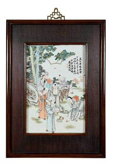 Chinese Famille Rose Enameled Porcelain Plaque