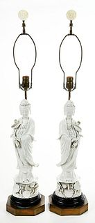 Pair Chinese Blanc de Chine Guanyin Lamps