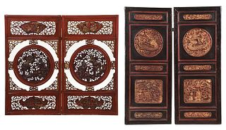 Two Pairs Chinese Carved Panels