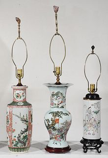 Three Chinese Porcelain Vases Converted to Lamps