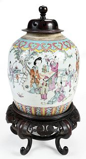 Chinese Famille Rose Boys Covered Jar with Stand