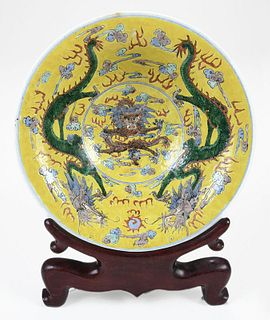 Chinese Dragon Bowl on Yellow Ground