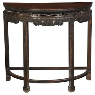 Chinese Demilune Carved Pier Table