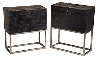 Near Pair of Early Japanese Storage Boxes