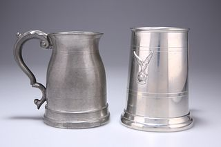 A RAFA PEWTER MUG,of tapering form with angular handle and