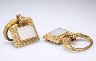 A PAIR OF 19TH CENTURY CHINESE GILT-METAL BUCKLES, each wit