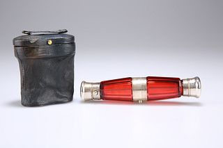 A VICTORIAN CRANBERRY GLASS FOLDING DOUBLE-ENDED SCENT BOTT