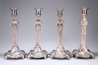 A SET OF FOUR OLD SHEFFIELD PLATE CANDLESTICKS, CIRCA 1770,