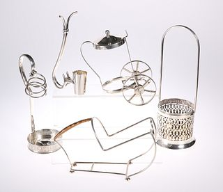 A GROUP OF FIVE SILVER-PLATED BOTTLE STANDS, Victorian and