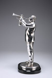 A WHITE-METAL MODEL OF THE AMERICAN TRUMPETER LOUIS ARMSTRO