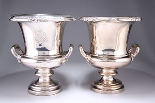A PAIR OF OLD SHEFFIELD PLATE WINE COOLERS, of campana form