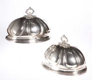 A PAIR OF 19TH CENTURY SILVER-PLATED MEAT COVERS, each engr