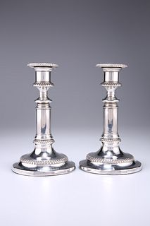 A PAIR OF OLD SHEFFIELD PLATE TELESCOPIC CANDLESTICKS, each