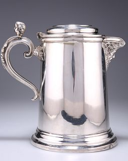 A LARGE SILVER-PLATED FLAGON, CIRCA 1870, tapering cylindri