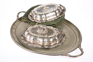 ~ A PAIR OF 19TH CENTURY SILVER-PLATED ENTREE DISHES, each