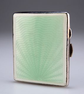 AN ENAMEL AND SILVER PLATE CIGARETTE CASE,by J G Ltd, the