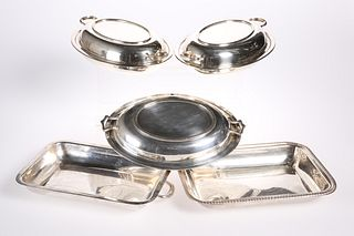 A GROUP OF FOUR SILVER-PLATED ENTREE DISHES, comprising thr