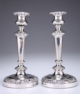 A PAIR OF OLD SHEFFIELD PLATE CANDLESTICKS, by D & G Holy,