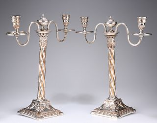 A PAIR OF OLD SHEFFIELD PLATE CANDELABRA, CIRCA 1770, each