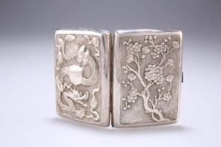 A CHINESE WHITE METAL CIGARETTE CASE, LATE 19TH CENTURY, em