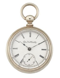 A STEEL ELGIN KEY WOUND POCKET WATCH. Circular white dial w