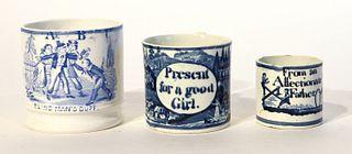 Three English Children's Transfer Cups