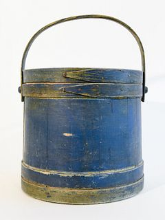 Blue Painted Firkin - signed