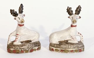 Pair of Small Chalkware Reclining Stags