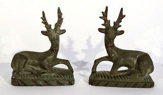 Pair of Chalkware Deer