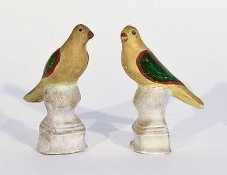 Pair of Chalkware Songbirds