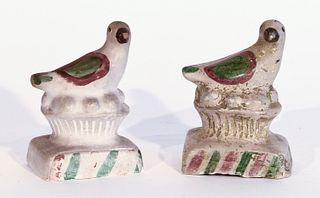 Pair of Chalkware Birds on Nest