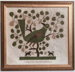 Folk Art Needlework Picture on Paper