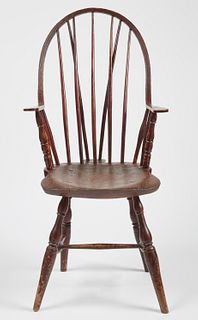 Continuous Arm Braceback Windsor Chair-Red Paint