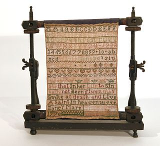 18th Century American Sampler on Frame