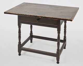 Early New England Stretcher Base Tavern Table