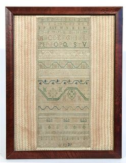 Fine Early Needlework Sampler - 1739