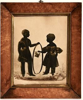 Silhouette of two Children with Hoop