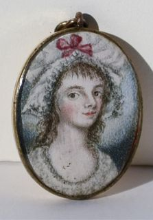 Fine Early Miniature Pendant Portrait of a Maiden