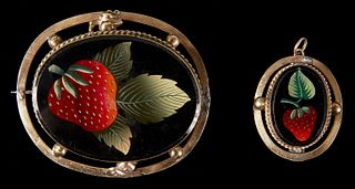 19th Century Strawberry Pin & Pendant