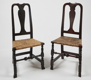 Two Queen Ann Spanish Foot Side Chairs