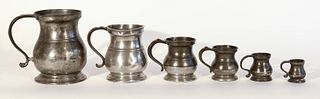 6 Early Graduated Pewter Tankards