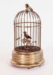 Brass Birdcage Music Box