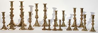 10 Pairs of 19th Century Brass Candlesticks