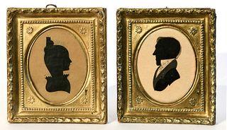 Pair of Portrait Miniature Silhouettes