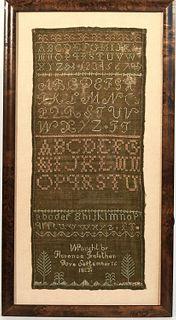 Needlework Sampler with Dark Green Background 1823