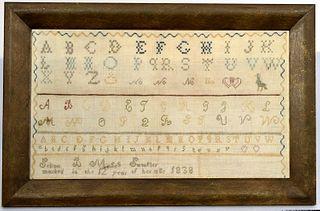 Needlework Sampler - B Moses 1838