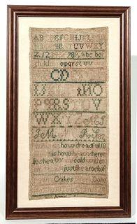 Needlework Sampler - 1828