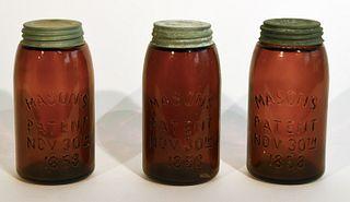 3 Amber Mason's Jars