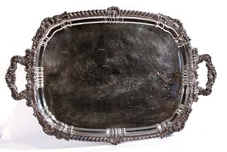 Large Fancy Silverplate Serving Tray
